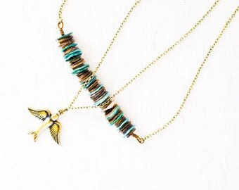 Bronze Bird Recycled Necklace - Blue Necklace - Teal Necklace - Bronze Necklace - Pendant Necklace - Bird Necklace - Recycled Jewellery