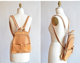 40% OFF / 3 days only / Vintage 1990s MINIMALIST leather backpack