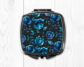 Compact Mirror for Purse Mirror Pocket Mirror Blue Grey Floral