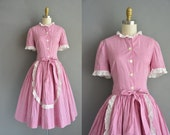 50s  mulberry gingham cotton vintage dress with eyelet ruffle trimming. vintage 1950s dress