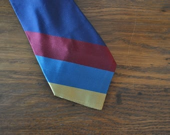 MCM mid century rep tie red navy gold turquoise 1960s 60s