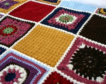 Crochet afghan granny square scrap yarn pink gold red blue white brown green navy throw blanket sampler colorful home decor bedding