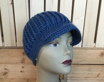 Ready to ship, Ladies Newsboy Hat, Merino Wool, Blue Ladies Hat, SuperWash Merino Wool, Super Soft Thick Winter Hat, Womans Wool Hat, OOAK