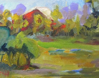 Country Red Barn original 5x7 farm landscape painting daily oil painting Art by Delilah