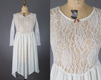 vintage ivory lace dress 1980s