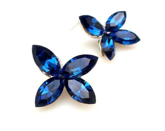 christmas prom bridal wedding bridesmaid gift Swarovski royal blue marquise flower foiled crystal rhinestone rhodium stud post earrings
