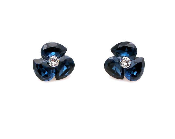 bridal wedding earrings christmas prom bridesmaid gift simple tripple teardrop Swarovski montana navy blue crystal rhinestone stud rhodium
