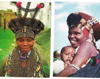 7 Vintage Costume Postcards - Zulu People - South Africa - Traditional Costumes