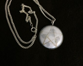 Pentacle Moon Cloisonné Enamel Pendant