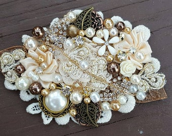Bridal Hair Comb, Wedding Comb, Decorative Comb, Floral Wedding Comb, Rhinestone  Bridal Comb, Vintage Style, Brown, Ivory, 1920s Style