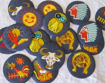 17 vintage patches - embroidered denim patches - retro