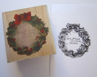 rubber stamp - Christmas Wreath - Cynthia Hart - used rubber stamp