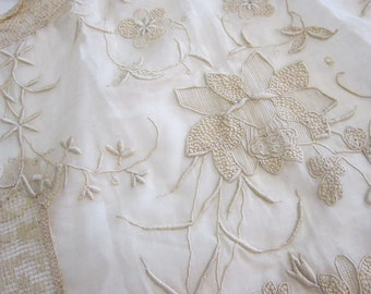 antique apron front - early 1900s era embroidered lawn and lace apront front, as is