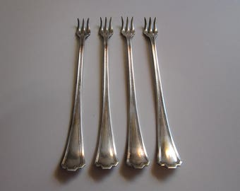 4 vintage cocktail forks - MANCHESTER 1923 - Plymouth Silver Co. seafood fork, cocktail fork - vintage silver plated flatware