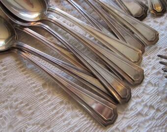 36 vintage flatware - SSS mark in triple diamonds - SSS PAT-15 1915 silver plated flatware