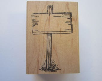vintage rubber stamp - blank sign - Lisa Hindsley Stampourri