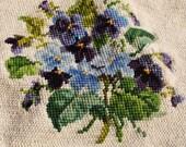 Vintage Pre-worked Violets Needlepoint - Violets, Needlepoint, Needlework, Needlepoint Pillows, Framed Needlepoint, Needlepoint Purses