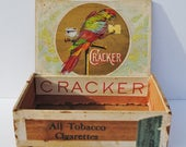 Vintage Cracker Tobacco Box - Cigarette Boxes, Cigar Boxes, Cracker, Parrots, Tobacciana, Mixed Media Supplies, Assemblage Art, Boxes