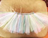 Pastel Green, Pink, Blue, and Lavender Dog Tutu with Adjustable Velcro Waist