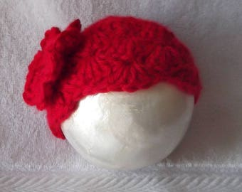 Beautiful...Hand Crocheted.... Solid Crimson Red....Adorable Gift.... Cap with Flower.....0 up to 3 month Girl.... PHOTOGRAPHERS