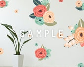 SAMPLE ** Graphic Flower Clusters in Coral, Peach and Mint
