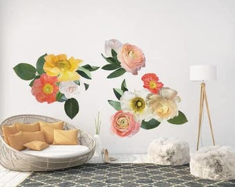 Yellow and Coral Garden Flowers- Wall Décor