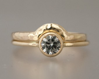 White Sapphire Engagement and Contour Wedding Band Set - half carat dimamond alternative wedding set in 14k yellow, white or rose gold