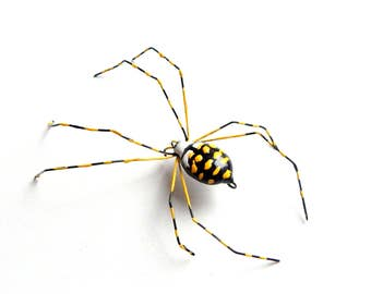 Large Hanging Garden Spider, Writing Spider, Copper Wire Art, Yellow Bug Ornament, Garden Party Gift for Host or Hostess, Unique Gift
