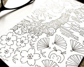original drawing postcard / notecard - ink drawing - illustration -  symbolic - country ~ JAPAN - wall decor - artwork