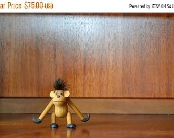 SALE 25% OFF vintage mid century sveistrup wood monkey figurine