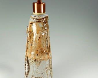 Pottery soap or lotion pump dispenser, ceramic soap dispenser with coppertone pumper, tall stoneware soap pump, ceramic detergent pump
