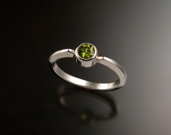 Peridot stackable ring Sterling Silver ring made to order in your size