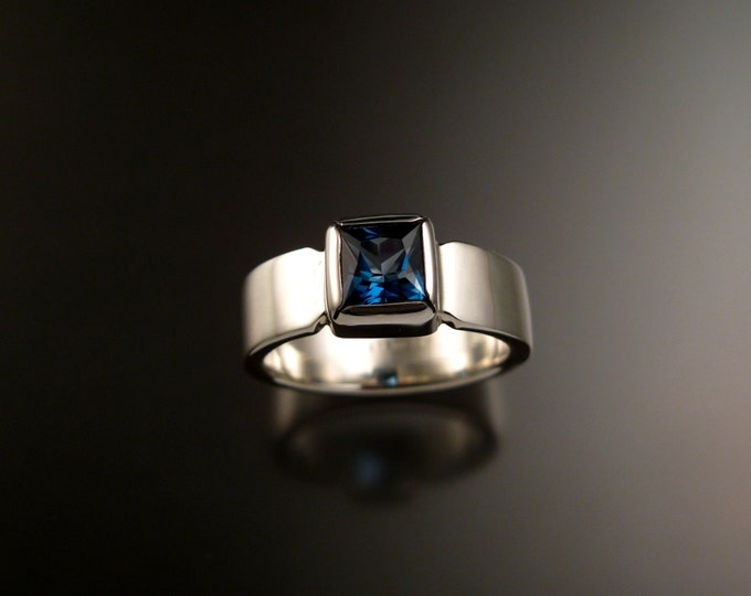 London Blue Topaz Ring Sterling silver ring Made to Order in your size square stone wide band Ring