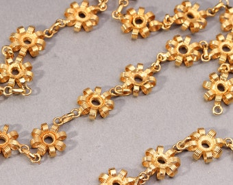 3 ft. 1940's Gold Plated Chain Gold Flower Chain Brass Chain