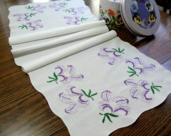Vintage Embroidered Purple Orchids Table Runner, Dresser Scarf - Shabby Cottage Chic Linens - Lavender Purple Floral