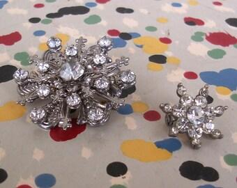 Two Clear Rhinestone Snowflake Pins