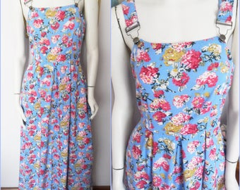 Vintage 90s Pinafore Overall Bib and Brace Floral Maxi Dress.Small.Bust 34-36.Waist 28.