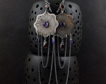 Long earring, gemstone silver earring, etched silver ,metalwork jewelry, mandala earring