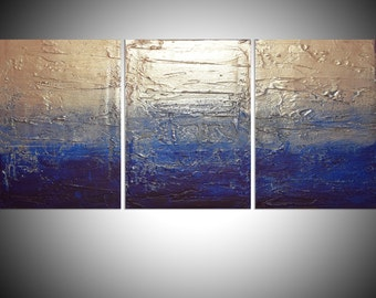 """LARGE WALL ART triptych 3 panel wall contemporary art """"Silver Triptych"""" canvas original painting abstract canvas pop wall kunst 48 x 20"""""""