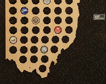 Ohio Shaped Beer Cap Map -- Holds 42 Bottle Caps -- Perfect for your favorite beer lover -- Made in the USA