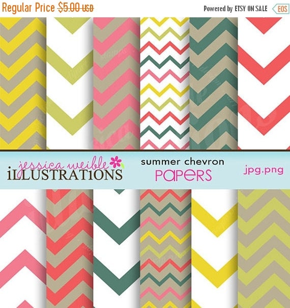 ON SALE Summer Chevron Cute Digital Papers for Card Design, Scrapbooking, and Web Design