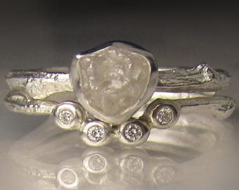 White Raw Diamond Engagement Ring, Rough Diamond Wedding Set, Uncut Diamond Twig Ring