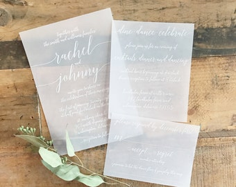 Katie Vellum Wedding Invitation Suite -  White ink printed on vellum! We can do colored ink as well