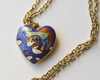 Cloisonne Heart Necklace Vintage Valentine Bird Cloisonne Pendant