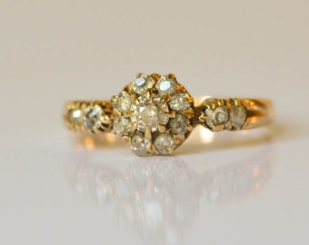 Engagement Ring, Antique Mine Cut Diamond,  18kt Gold Diamond Cluster Ring, 1850s, Size 5 3/4