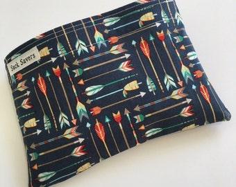 Reusable Sandwich Bag Reusable Snack Bag Woodland Blue Arrows