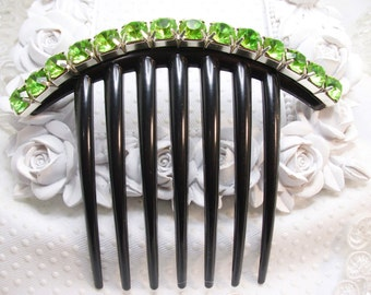 8 mm Irish Eyes Green Crystal Rhinestone french hair comb fascinator french twist comb, Special occasion hair updo black comb
