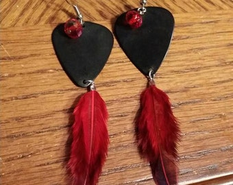 Feathered guitar pick earrings