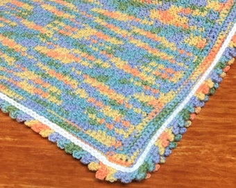 Hand Crocheted Baby Blanket/Afghan in Oranges and Greens