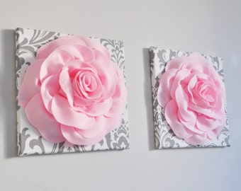 Nursery Decor Canvas Set Canvas Flower Baby Shower Decor Wall Decor Nursery Art Wall Hanging 3D Flower Art White Grey and Pink Nursery 12X12